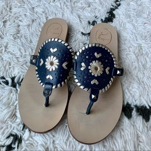 Jack Rogers Georgica Sandals in Navy and Platinum
